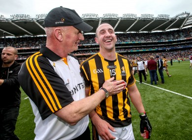 Eoin Larkin with manager Brian Cody after yesterday's game.
