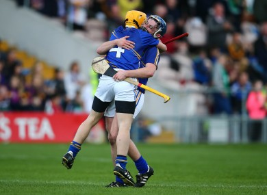 Emmet Byrne and Luke Maloney celebrate at the final whistle.