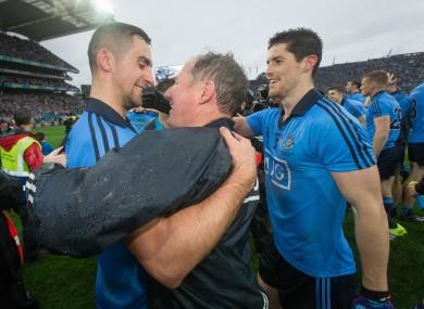 James McCarthy celebrates Dublin's win with Jim Gavin and Rory O'Carroll.