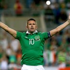 Robbie celebrates scoring Ireland's third, and his second against Gibraltar.<span class=