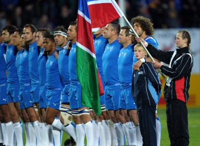 The Namibians line out against Wales in a Rugby World Cup pool game four years ago in New Zealand.