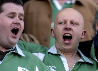 Irish fans singing during before a Six Nations match in Rome.