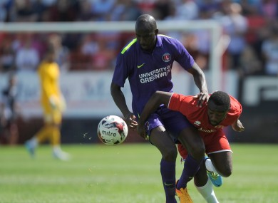 Sahr Kabba (right) has become the first player to be charged by the FA for allegedly feigning injury.