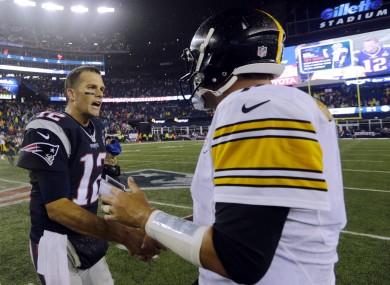New England Patriots quarterback Tom Brady with Pittsburgh Steelers quarterback Ben Roethlisberger.