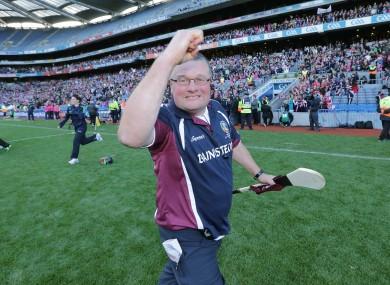 Tony Ward celebrating Galway's 2013 All-Ireland final win.