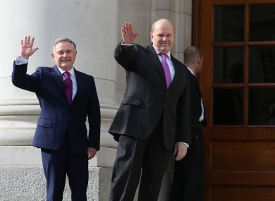 Finance Minister Michael Noonan and Public Expenditure and Reform Minister Brendan Howlin on Budget day last year.
