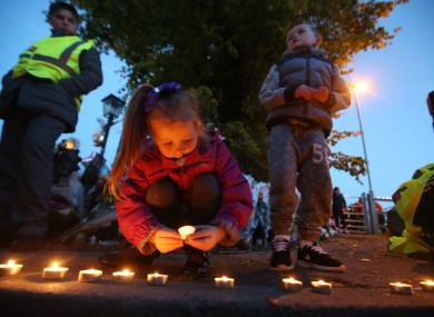 Elizebeth Wall (6) joined members of the Travelling community at a candlelight vigil in Carrickmines last week.