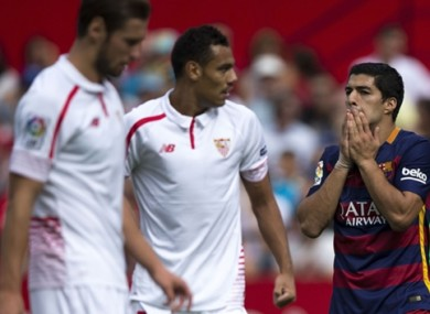 Luis Suarez shows his disappointment in today's game.