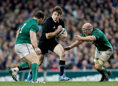 Beauden Barrett runs at Cian Healy and Paul O'Connell during their clash in 2013.
