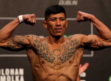 Jon Delos Reyes at yesterday's weigh-ins in Dublin.