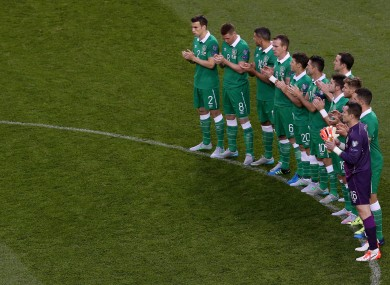 The Republic of Ireland during a minute's applause before last month's tie against Georgia at the Aviva Stadium.