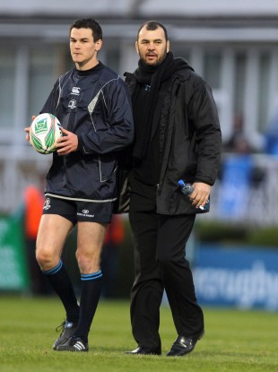 Johnny Sexton and Michael Cheika during their time together with Leinster.