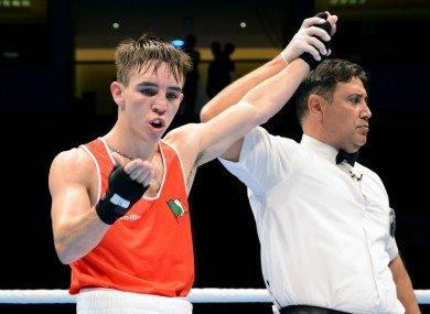 Michael Conlan celebrates after today's win.