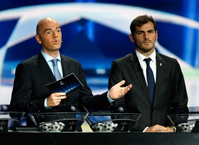 Infantino, pictured with Porto goalkeeper Iker Casillas, is master of ceremonies for many Uefa draws.