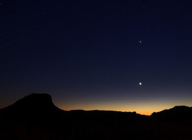 Beautiful landscape after sunset with the moon, Jupiter and Venus, seen from Isalo, Madagascar