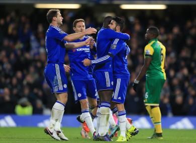 Chelsea's Diego Costa (right) celebrates scoring the winner.