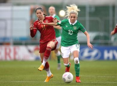 Ireland's Denise O'Sullivan and Spanish goalscorer Vicky Losada.
