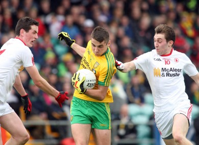 Donegal minor captain Michael Carroll in possession against Tyrone.