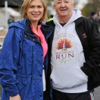 Originator of the Remembrance Run Frank Grealy with RTE presenter Anne Cassin.<span class=