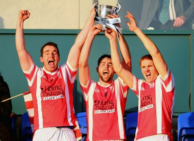 Cuala players Rob Reid, Oisin Gough and Bobby Browne celebrate winning the Dublin SHC title.