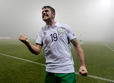 Robbie Brady celebrates scoring the game's opening goal.