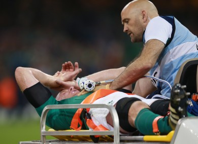 Paul O'Connell's World Cup ends on a stretcher.