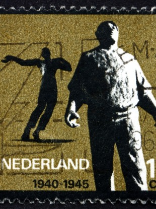 A stamp issued to commemorate Dutch resistance fighters from WW2