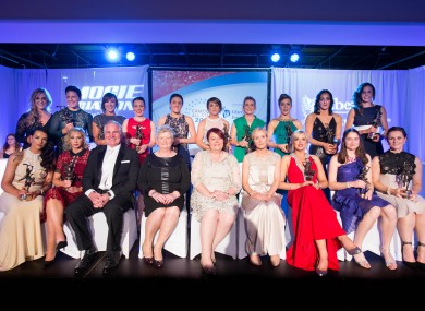 The 2015 Camogie All-Stars alongside special guest Brent Pope.