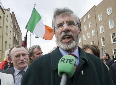 Gerry Adams and Sinn Féin colleagues at Leinster House