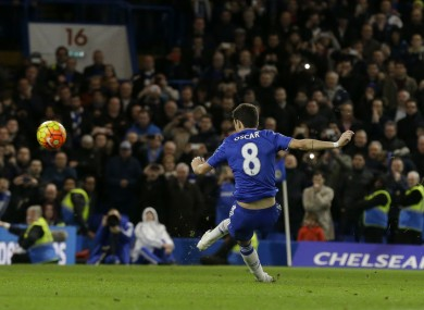 Chelsea's Oscar misses a penalty by hitting it over.