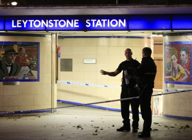Police cordon off Leytonstone Underground Station in east London following the stabbing incident.