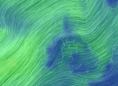 The wind picture off Ireland last night.