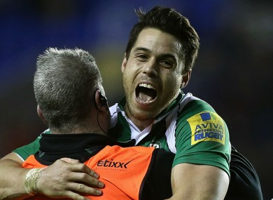 London Irish back Sean Maitland celebrates victory over Northampton Saints