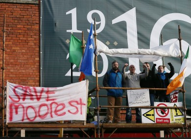 Protesters occupy the disputed terrace  on Moore Street.