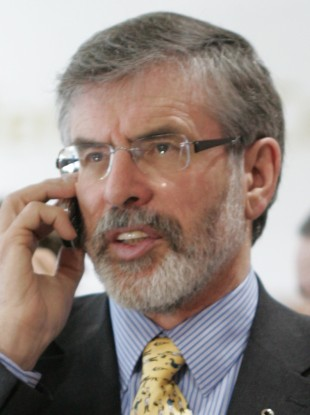 Gerry Adams on the phone