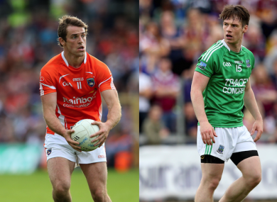 Armagh's Kevin Dyas and Fermanagh's Tomas Corrigan are on the move.