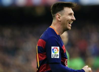 Lionel Messi celebrates a Barcelona goal.