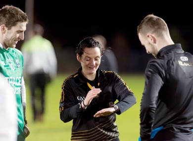 Referee Maggie Farrelly at the coin toss at last night's Dr McKenna Cup game.