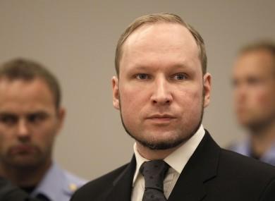 Breivik pictured in 2012