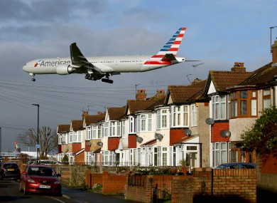 An American Airlines Boeing 777 near Heathrow Airport