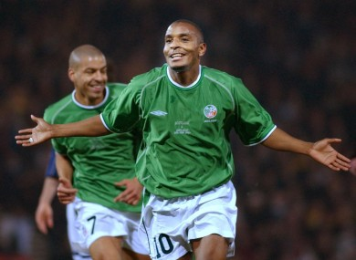Clinton Morrison celebrates a goal for Ireland against Scotland in 2003