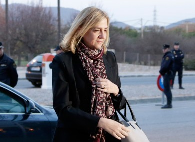 Spain's Princess Cristina arrives at a makeshift courtroom for a corruption trial