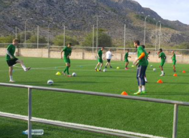 Players pictured training in the Mallorca football academy.