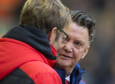 Louis van Gaal and Jurgen Klopp will go head-to-head again.
