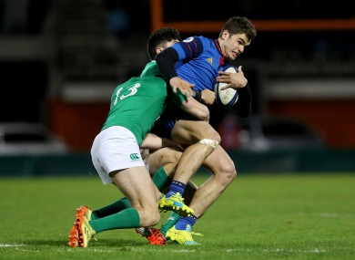 France's Damian Penaud with Shane Daly and Jimmy O'Brien of Ireland.