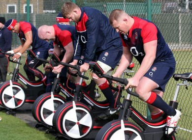 England rugby stars in training