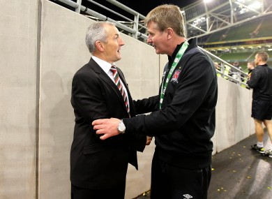 Kenny comes up against John Caulfield once again, pictured here after the FAI Cup final.