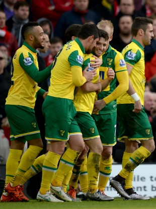Wes Hoolahan and his Norwich team-mates (file photo).