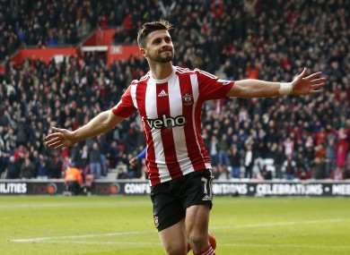 Shane Long celebrates scoring against Chelsea.