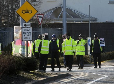 Luas staff picket outside the Sandyford depot last month.